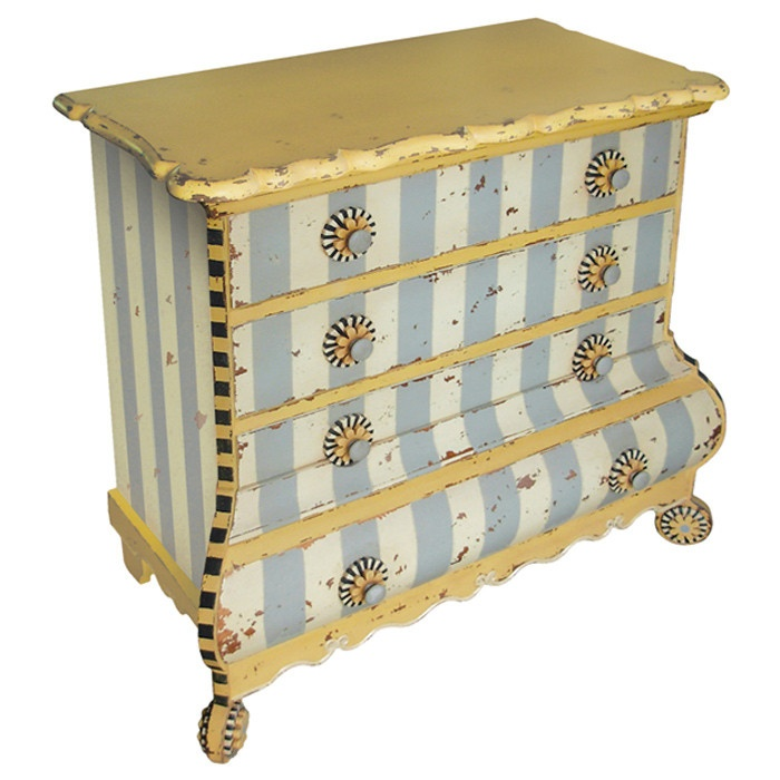Blue And White Stripes Whimsical Painted Furniture Pinterest