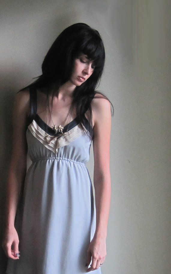 Moonlight grey silk dress - deep v-neckline with back zipper in moon grey - small on Etsy, $200.00