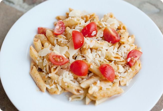 Roasted red peppers and basil chicken pasta. Pearls, Handcuffs, and ...