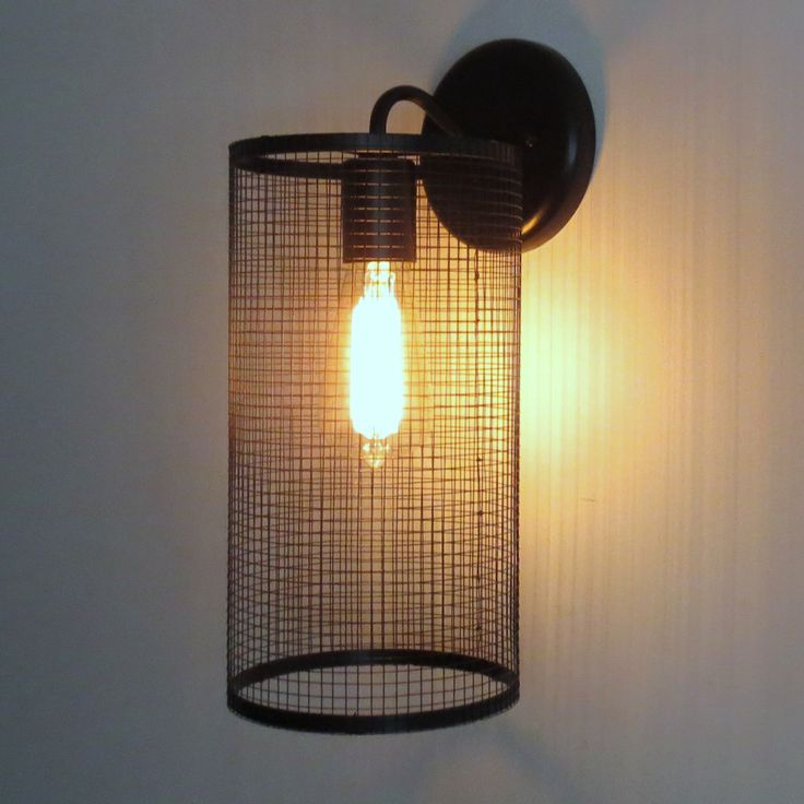 Urbanville Port.. WALL SCONCE Light Cage with Edison Bulb