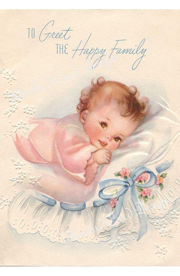 Card - Vintage Baby Girl via Etsy. | Vintage baby prints ...