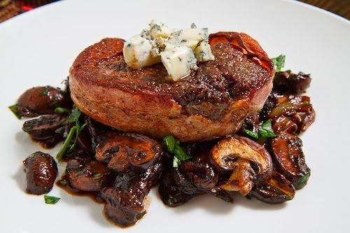 Double Smoked Bacon Wrapped Filet Mignon with Caramelized Mushrooms t ...