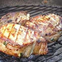 Center-cut pork chops, stuffed with gouda cheese, parsley, and bacon ...