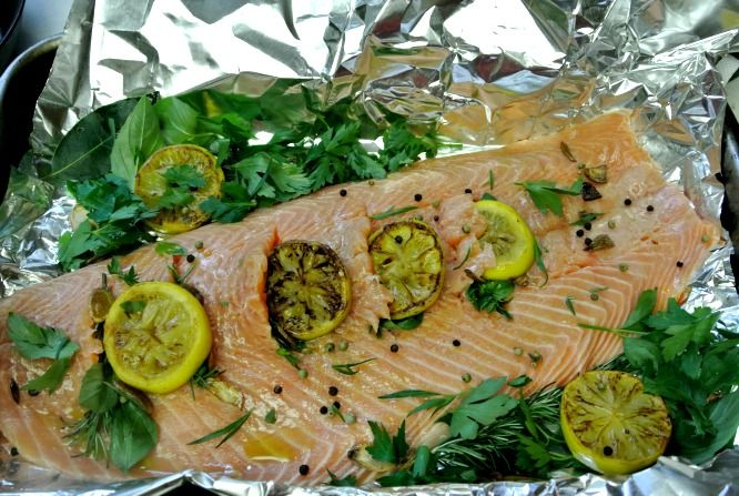 This juicy Lemon and Herb Stuffed Salmon has a wonderful caramelized ...