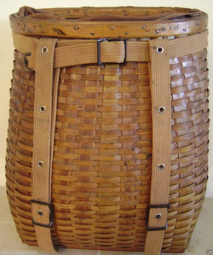 Wicker Basket Backpack : Ll bean vintage pack basket wicker backpack liner fishing