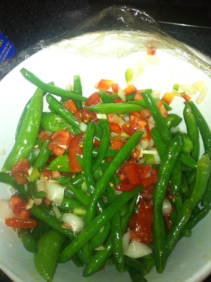 String bean and snap pea salad olive oil, cider vinegar, peppers ...