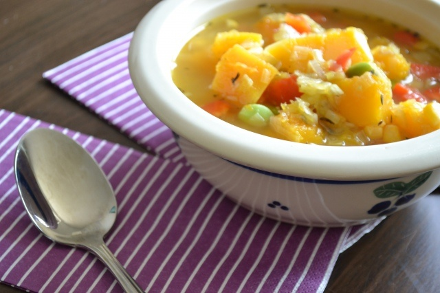 Butternut squash, corn, and edamame soup, from Warm Vanilla Sugar blog ...