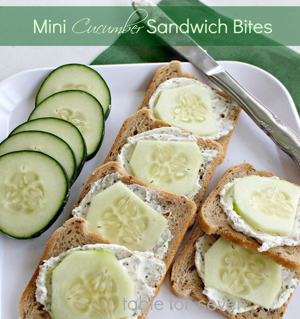 Sandwich Bites - 1 cucumber - peeled and sliced, 8oz cream cheese ...
