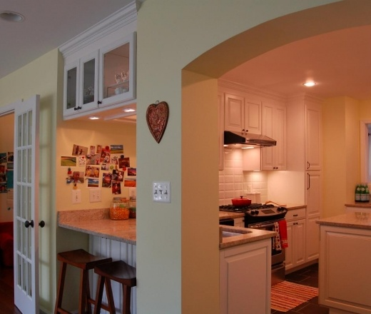 Traditional Island Style Pale Yellow kitchen, white cabinets, $20,000