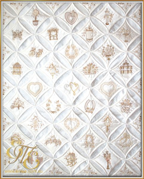 Diamonds pearls cathedral window quilt quilt love for Window quilts