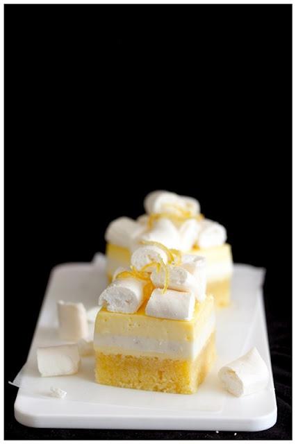 Lemon almond cake with vanilla buttermilk panna cotta and lemon curd