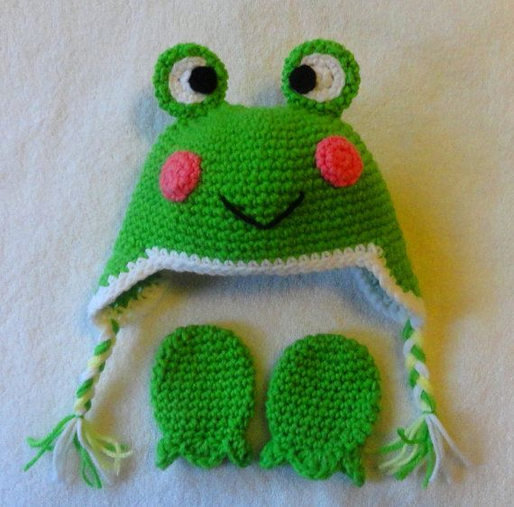 Hand Crochet Baby Frog Hat with ear flap