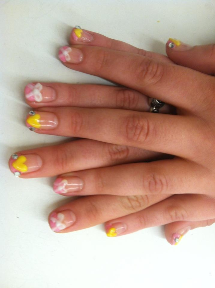 yellow and pink bow gel nails | Nails | Pinterest