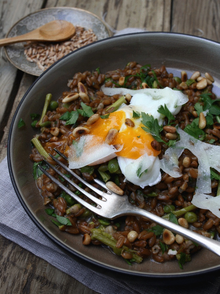 "Farro ""Risotto"" with Broad Beans, Wild Asparagus and Poached Egg ..."