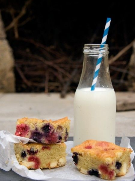 Raspberry, blueberry and white chocolate blondies from Crumbs and ...