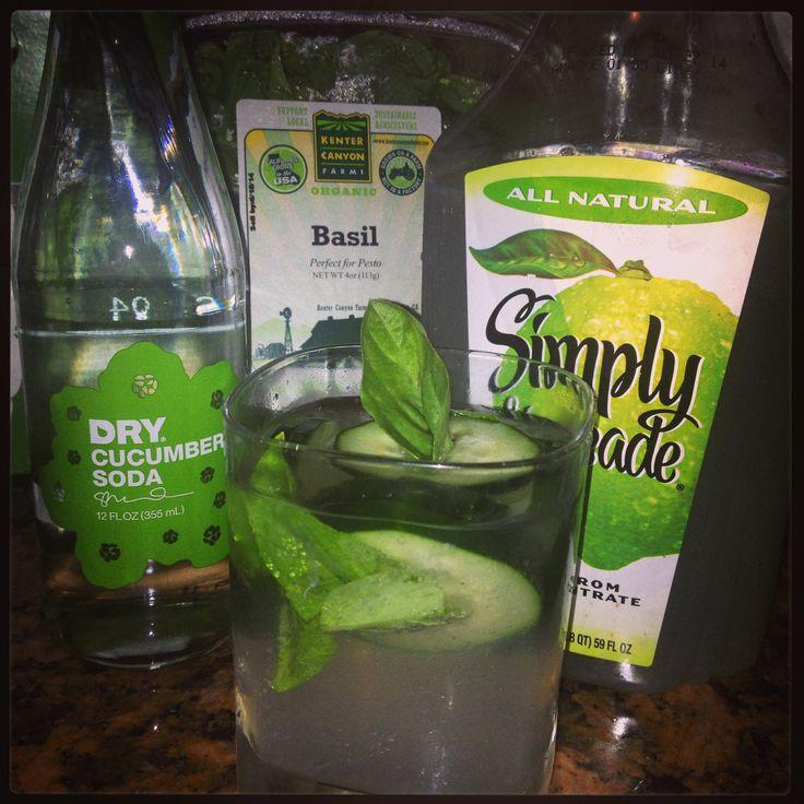 vodka + cucumber soda + limeade + basil + sliced cucumber :)