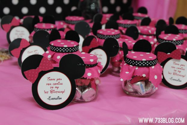 minnie mouse decorations from baby food jars minnie mouse 1st