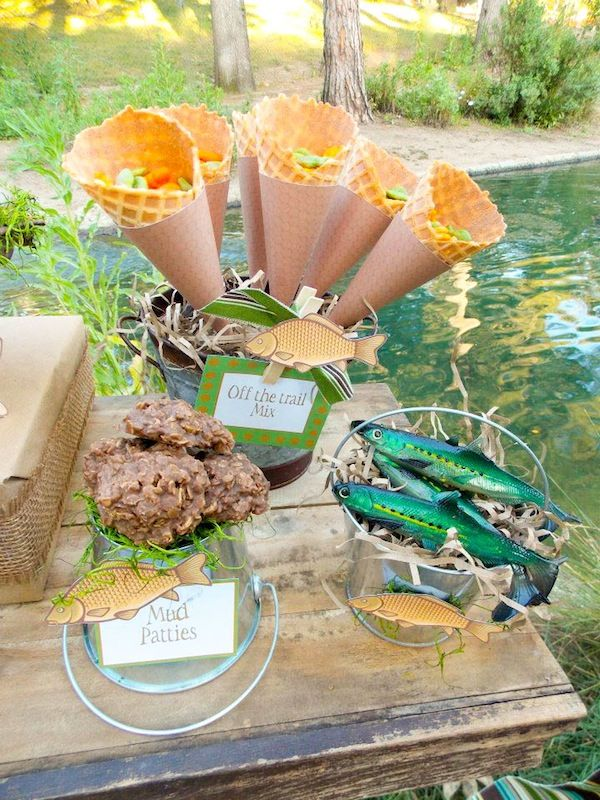 Gone fishing boy themed party planning ideas decorations for Fishing theme party ideas
