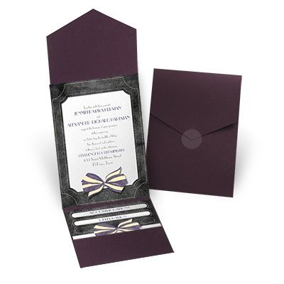 wedding invitation purple david tutera at invitations by dawn
