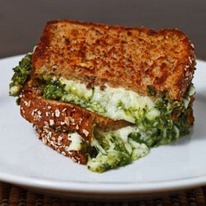 Spinach Pesto Grilled Cheese Sandwich full recipe at http://recipehub ...