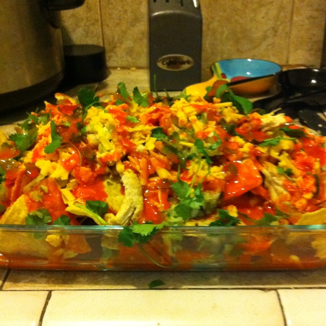 Made my own layered buffalo chicken nachos! Super easy to make. Cook ...