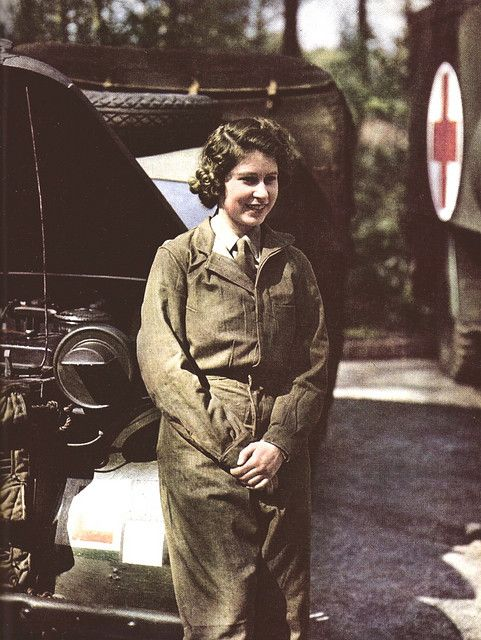 Princess Elizabeth (Queen Elizabeth II) in 1945 in her ATS uniform during the war where she was trained as a driver. S)