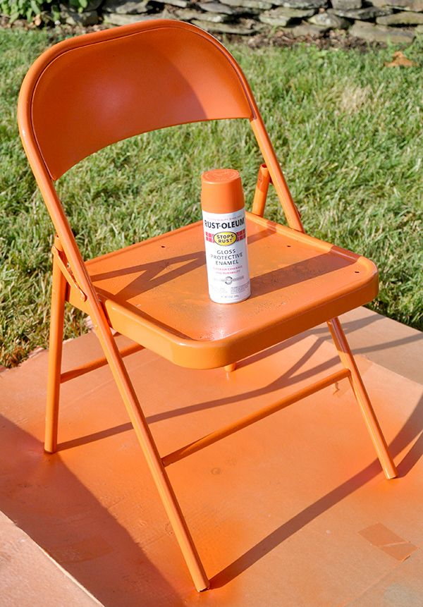 spray painted metal folding chair diy pinterest. Black Bedroom Furniture Sets. Home Design Ideas