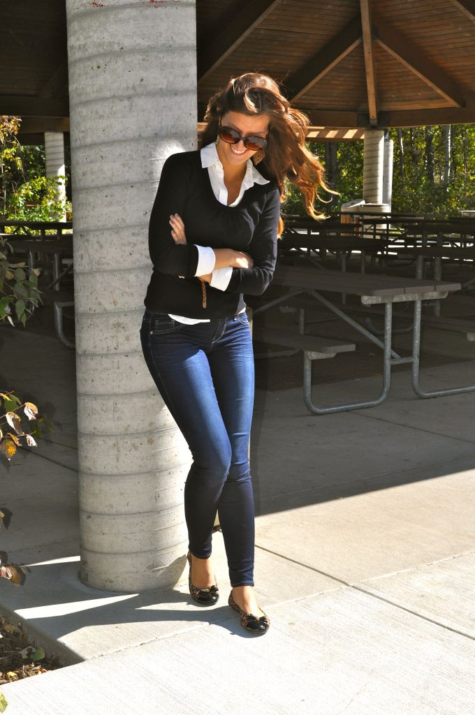 Black sweater, white collar shirt, jeans and flats - everyday classic outfit
