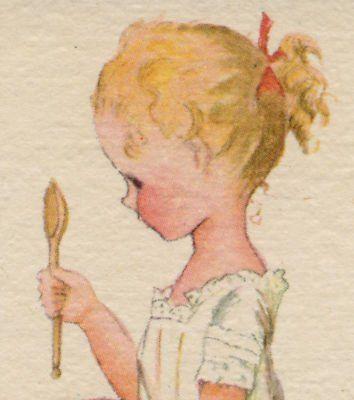 Tasha Tudor 1942  girl holding a wooden spoon