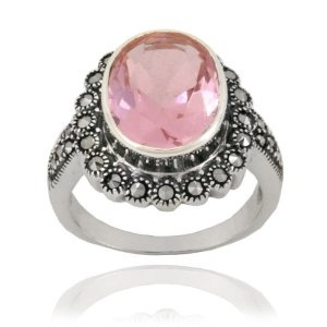 Sterling Silver Marcasite and Pink Glass Oval Ring