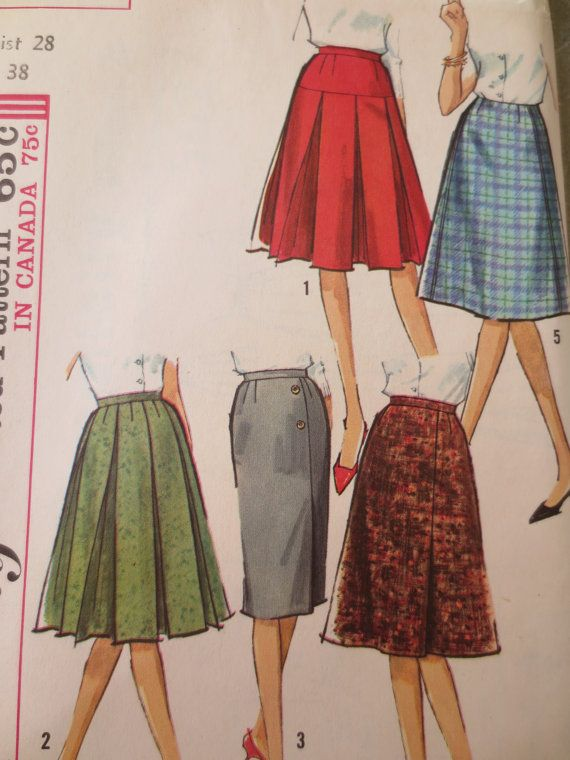 vintage simplicity 5627 sewing pattern pleated skirt box