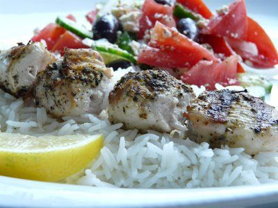Thibeault's Table: Greek - Chicken Souvlaki with Greek Salad