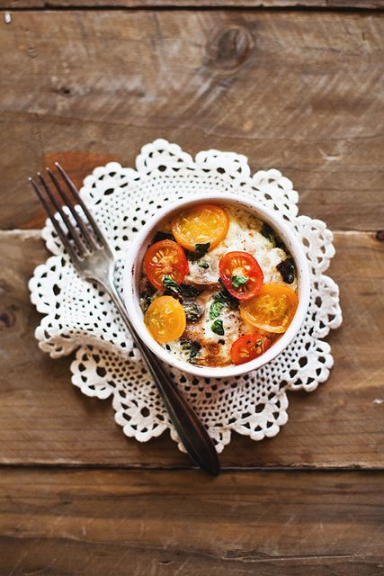 baked eggs with tomatoes and prosciutto   delish   Pinterest