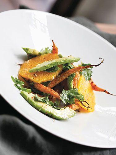 Roasted carrot, avocado, and orange salad