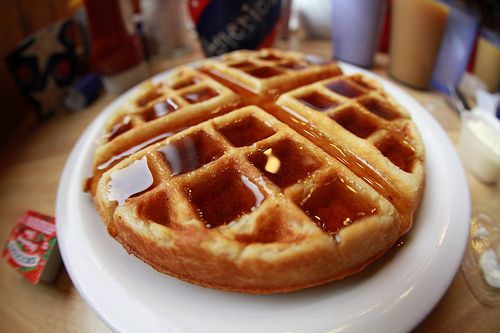 Belgian waffles with one chocolate chip per square