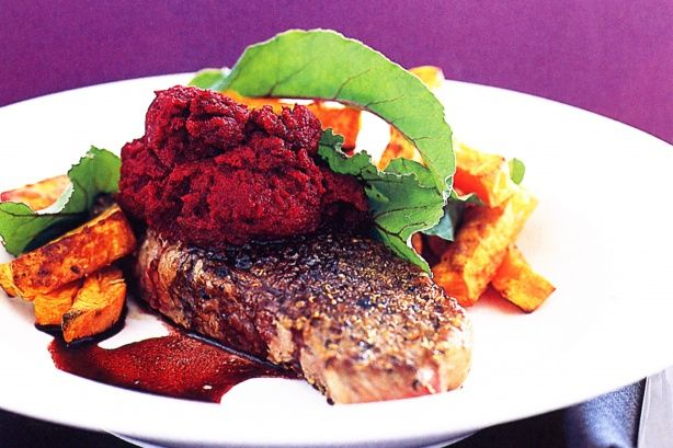 Pepper & coriander crusted steaks with beetroot puree
