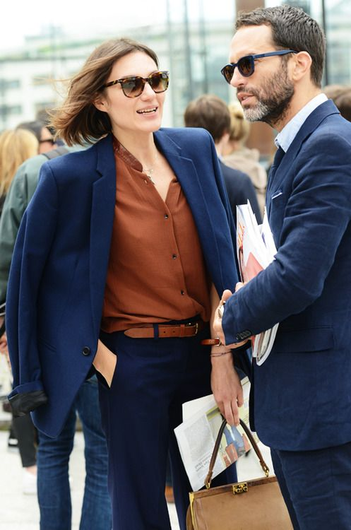 Masterful combo of blue and brown, menswear and womenswear.
