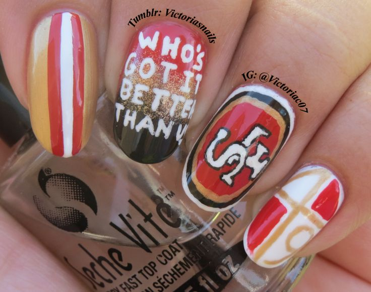 49ers football nails / nail art | Tow Nail Ideas!! | Pinterest