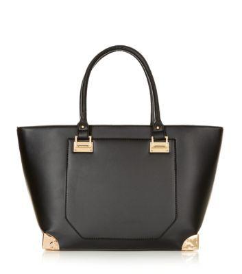 Black Leather-Look Metal Corner Tote Bag