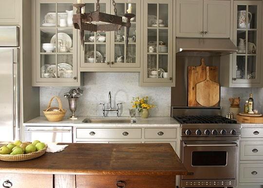 grey cabinets with subway tile backsplash