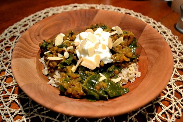 Curried lentils and sweet potatoes with greens | Yummy stuff ...