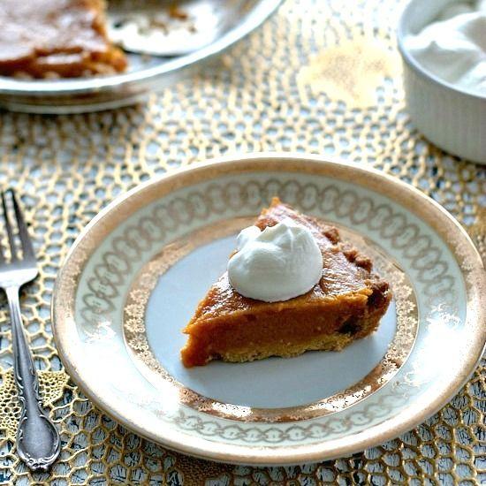 kuri squash pie with ginger shortbread crust