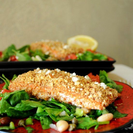 Rosemary Almond Crusted Salmon, served atop a white bean kale and ...