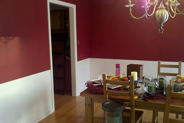Red chair rail dining room pinterest for A w beattie dining room