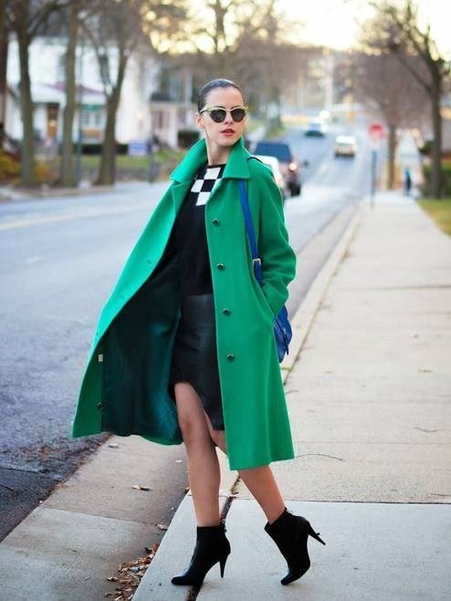 Green Coat And Black Pumps