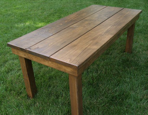 Farm Table plank top with antique walnut stain by FurnitureFarm $399 00