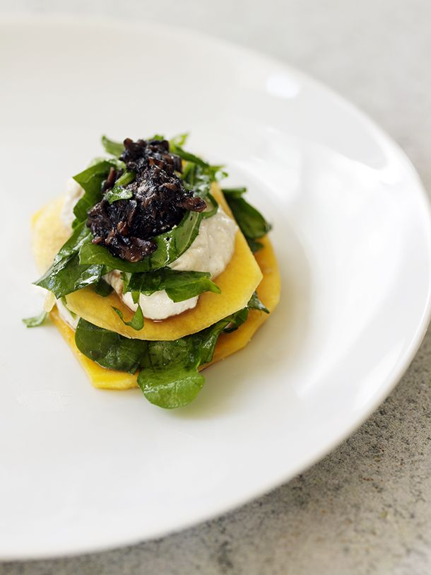 Wild Mushroom, Butternut Squash, Wilted Spinach Lasagna, from Raw for the Holidays | Raw Food Recipe from Chef Matthew Kenney | Organic Spa Magazine