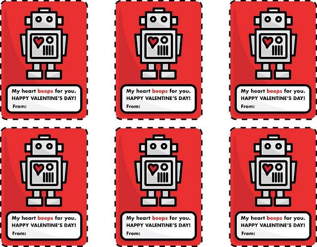 Free printable robot valentines