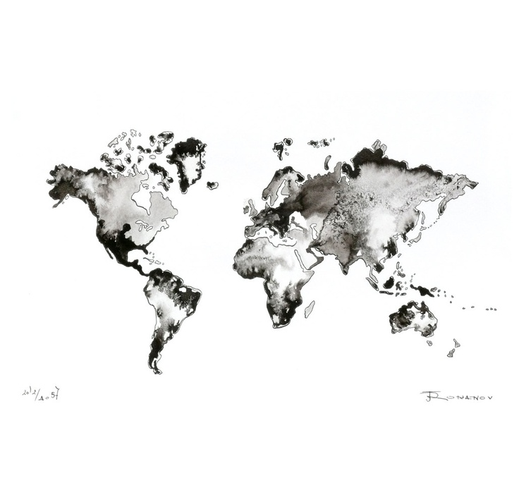 World map original painting watercolor ink artwork fine for Black and white world map wall mural