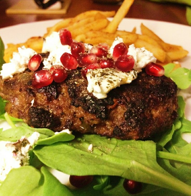 "Swedish"" Venison Burgers w/ goat cheese and pomegranate seeds"
